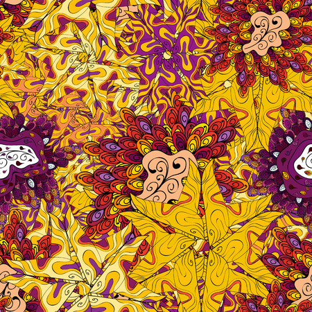 Yellow, black and purple on colors. Vector - stock. Doodles cute pattern. Nice background. Seamless Beautiful fabric pattern.