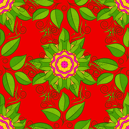 Vector. Hand paint swimwear pattern. Artistic modern style illustration. Tropical leaves seamless pattern on painted background. Watercolor red, green and yellows leaves of exotic plant and palm tree. Illustration