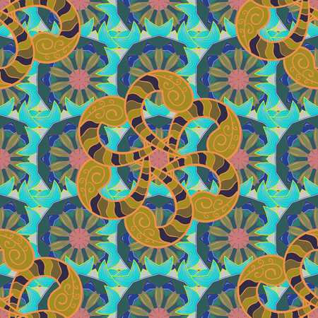 Vector doodle seamless pattern with ethnic mandala ornament on a blue, green and brown colors. Outline.