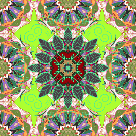 Gray, neutral and green colors with colored ornament mandala, based on ancient greek and islamic ornaments. For wedding invitation, book cover or flyer.