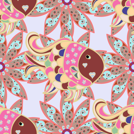 Seamless pattern with abstract ornament. Vector Hand drawn  floral pink, neutral and gray colors.