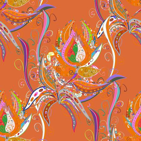 Floral orange, pink and neutral seamless pattern. Vector flower print. Vintage outline illustration. Vector Tender fabric pattern.