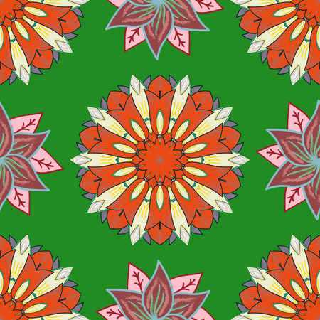 Vector illustration. Seamless pattern with floral ornament. Flowers on green, orange and neutral colors.