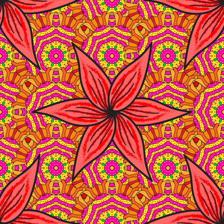 Vector flat flowers seamless pattern. Design gift wrapping paper, greeting cards, posters and banner design. Flowers on yellow, pink and magenta colors.
