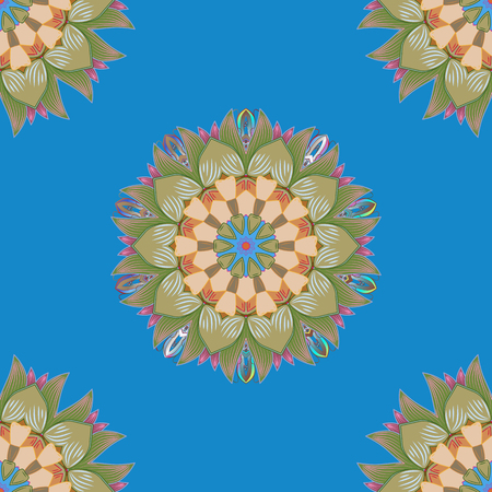 Mandala colored on a green, neutral and blue colors. Invitation card. Vector vintage pattern.