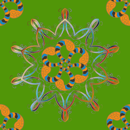 Vector circular abstract mandalas pattern. Colored Mandala on a neutral, orange and green baqckground. Round ornament with intertwined branches, flowers and curls. Arabesque. Illustration