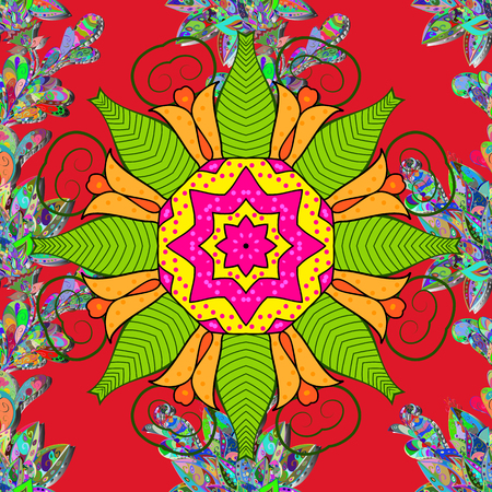 Colored round floral mandala.Vector illustration Stock Vector - 98259021
