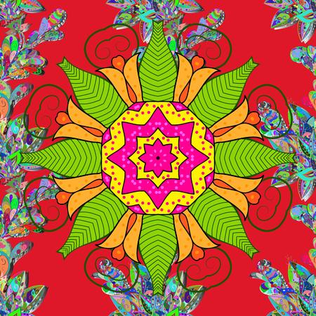 Colored round floral mandala.Vector illustration