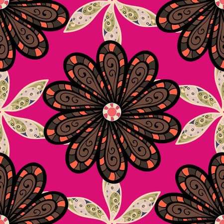 Vector Beautiful fabric pattern. Vector watercolour floral pattern, delicate flowers, magenta, black and brown flowers, greeting card template.