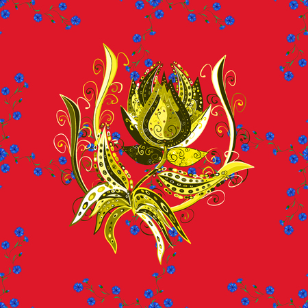 Vector illustration. Floral wallpaper. Seamless pattern. Colorful ornamental border. Indian ornament. On red, yellow and blue colors.