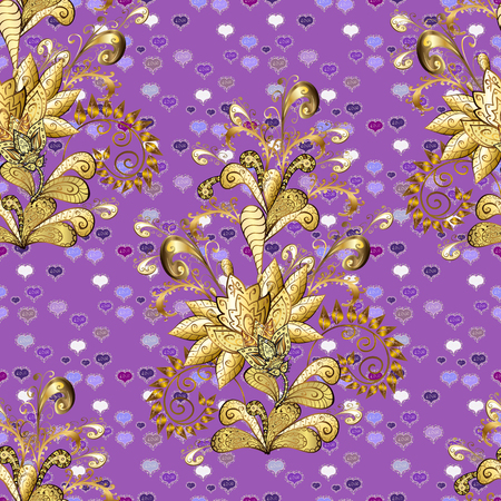 Elegant vector classic pattern. Seamless abstract background with repeating elements. Violet, brown and beige and golden pattern.