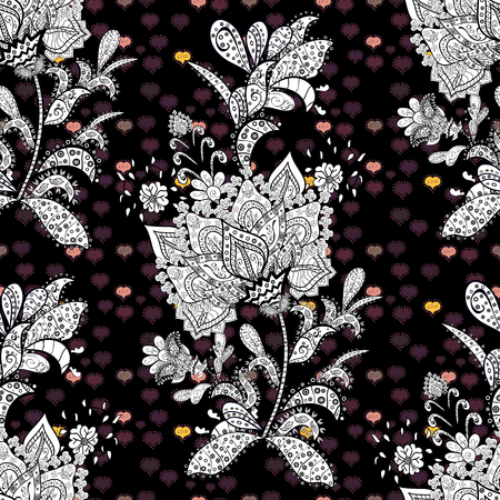 Seamless damask classic white and cute pattern. Vector abstract background with repeating elements. Cute pattern on black, white and brown colors with cute elements. Illustration