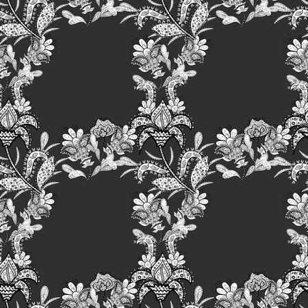 Seamless flower pattern on black background