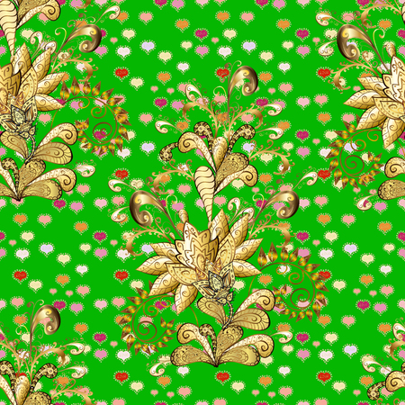 Vector golden seamless pattern. Seamless golden textured curls. Golden elements in oriental style arabesques.