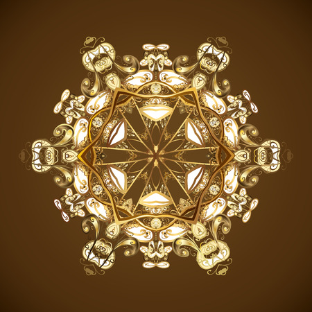 Vector illustration. Brown, beige and yellow snowflakes on a brown, beige and yellow colors. Snowflake vector pattern.