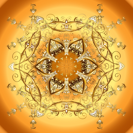 Symbol of winter vector illustration. Snowflake abstract wallpaper, wrapping decoration. Cute snowflake on yellow, orange and brown colors.