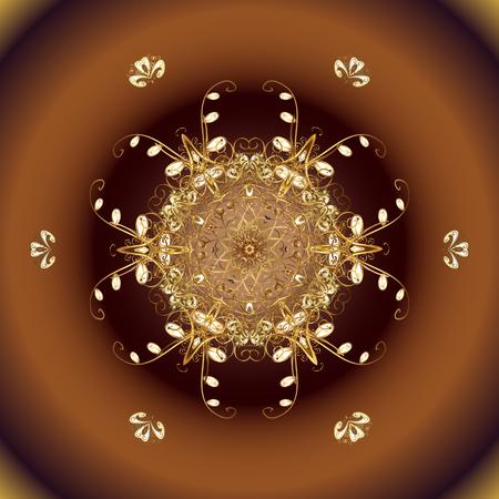 Invierno de copo de nieve aislado en colores marrón, beige y amarillo. Para diseño navideño. Silueta de icono marrón, beige y amarillo. Símbolo de celebración. Ilustración vectorial Signo de año nuevo