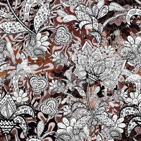 Floral pattern. Flower seamless background. Flourish ornamental spring garden texture. Vector illustration.