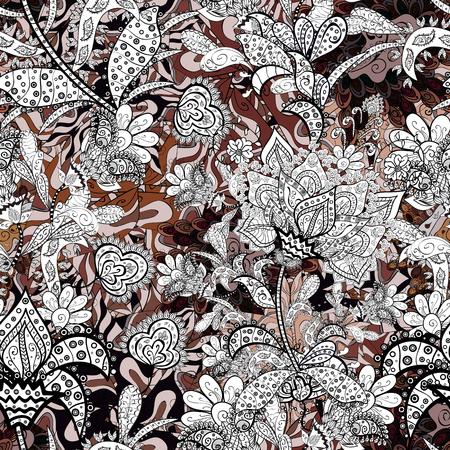 Floral pattern. Flower seamless background. Flourish ornamental spring garden texture. Vector illustration.