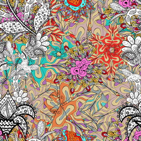 Flowers on beige, black and white colors. Flat Flower Elements Design. Colour Spring Theme seamless pattern Background. Seamless Floral Pattern in Vector illustration. Illustration