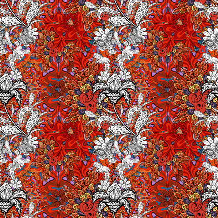 Elegant, bright and seamless red, black and orange flower pattern design. It can be used on mug prints, baby apparels, wallpaper, wrapping boxes etc.