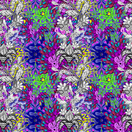 Flowers of the valley on violet, black and white colors. Vector seamless floral pattern. Foto de archivo - 98217015