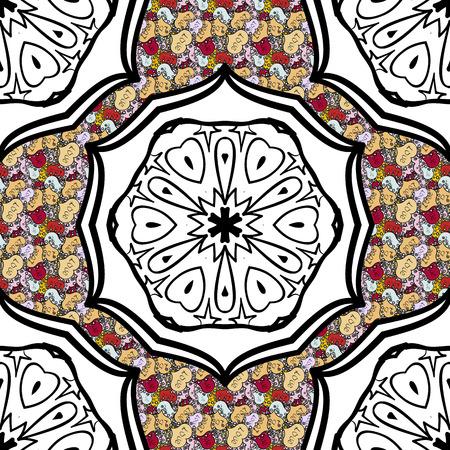 Boho abstracto de patrones sin fisuras. Mandala de azulejos de colores coloridos en colores blanco, negro, beige. Elemento de diseño floral intrincado para papel tapiz, papel de regalo, muebles. Decoración inusual del ornamento del vector.