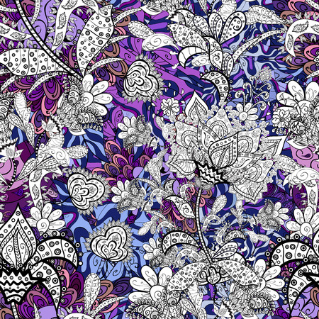 On white, black and gray colors in watercolor style. Seamless spring pattern with little flowers. Vector illustration. Çizim
