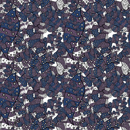 Seamless pattern Beautiful fabric background. Vector texture. Illustration. Doodles on a gray, black and blue colors.