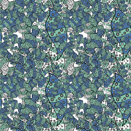 Vector. Seamless Abstract interesting background. Tender fabric pattern. Black, blue and neutral on colors. Doodles pattern. 向量圖像