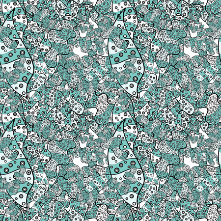 Seamless pattern Print. Vector. Nice fabric pattern. Design. Flat elements. Doodles neutral, blue and black on colors. Ilustração