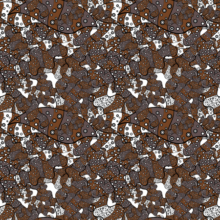stock. Seamless Cute fabric pattern. White, brown and black on colors. Vector illustration. Nice background. Abstract doodles pattern.