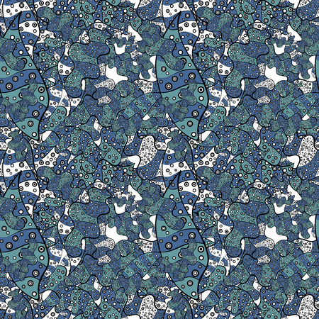 Pattern white, black and blue on colors. - stock. Abstract doodles pattern. It can be used on mug prints, baby apparels, wallpaper, wrapping boxes etc. Vector sketch. Seamless Cute fabric pattern.
