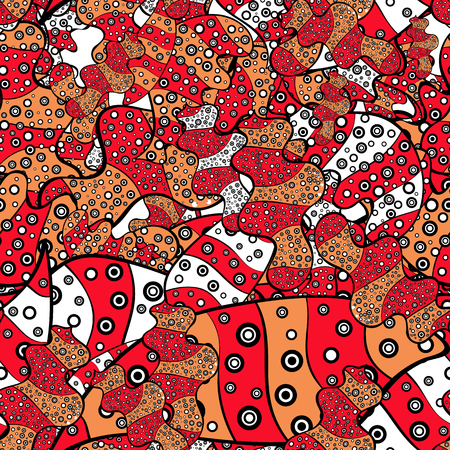 Seamless Elegant vector texture with floral elements. Doodles red, black and orange on colors. Illustration