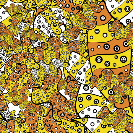 Gentle, doodles on yellow, black and orange colors. Abstract seamless vector pattern with hand drawn floral elements.