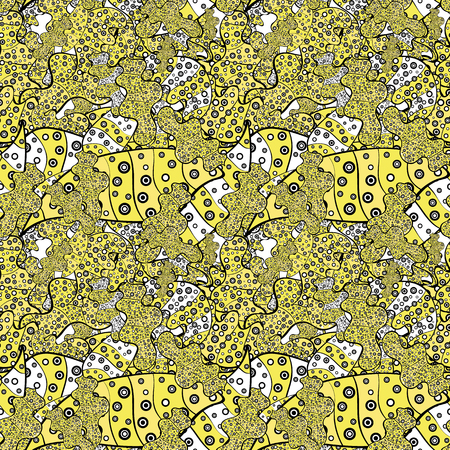 Tender fabric pattern. Yellow, black and white on colors. Pattern. Vector. Seamless Abstract Retro Background Design. Çizim