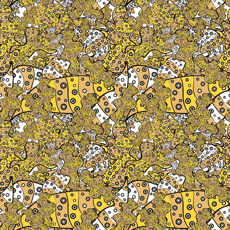 Seamless Abstract Retro Background Design. Pattern. Tender fabric pattern. Beige, black and yellow on colors. Vector.