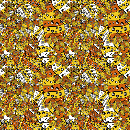 Elegant decorative ornament for fashion print, scrapbook, wrapping paper, wallpaper. Images on a yellow, black and orange colors Vector illustration.