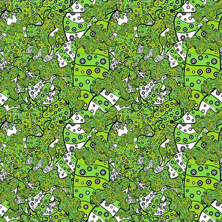 Vector. Doodles green, black and white on colors. Fashionable fabric pattern. Seamless pattern Print. Design wrapping and gift paper, greeting cards, banner and posters design. Illustration