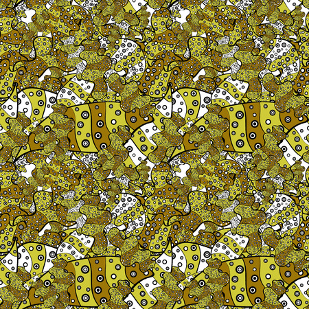 Abstract seamless vector pattern with hand drawn floral elements. Gentle, doodles on yellow, black and brown colors.