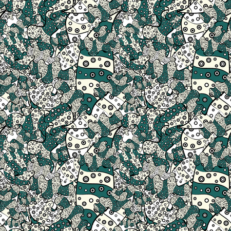 Doodles pattern for wrapping paper. Neutral, black and green on colors. Vector illustration. Abstract nice background.