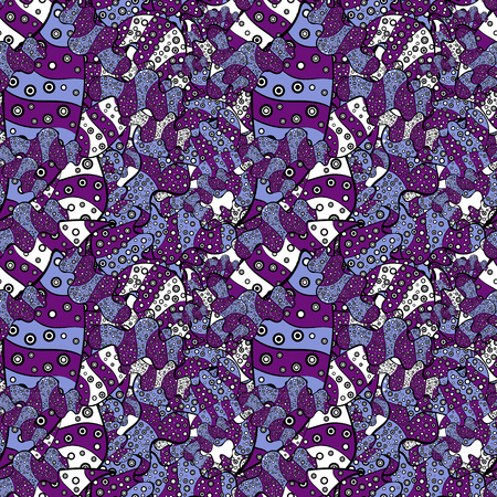 Fashionable fabric pattern. Vector. Design wrapping and gift paper, greeting cards, banner and posters design. Doodles purple, black and blue on colors. Print.