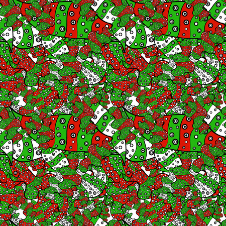 Doodles cute pattern. It can be used on wallpaper, mug prints, baby apparels, wrapping boxes etc. Seamless Beautiful fabric pattern. Nice background. Green, black and red on colors. Vector - stock.