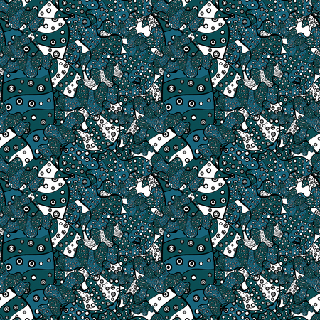 Blue, black and white on colors. Seamless Abstract Retro Background Design. Vector. Tender fabric pattern. Pattern. Illustration