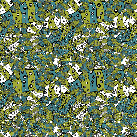 Doodles yellow, black and blue on colors. Vector. Seamless Beautiful fabric pattern. Stock Illustratie