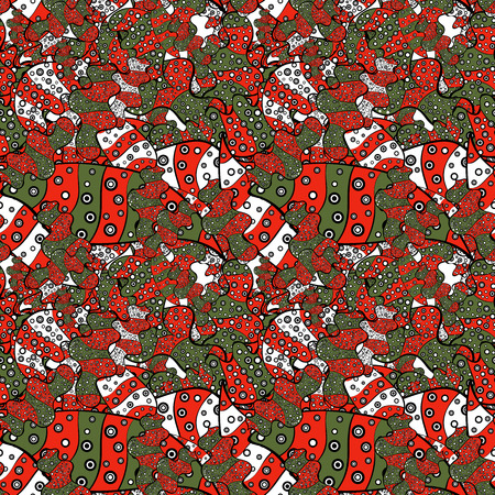 Seamless pattern Elegant decorative ornament for fashion print, scrapbook, wrapping paper, wallpaper. Pictures on a red, black and green colors Vector illustration.