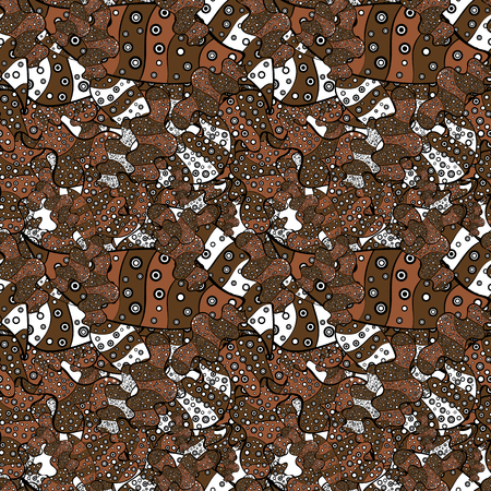 Seamless Elegant vector texture with floral elements. Doodles brown, black and white on colors.