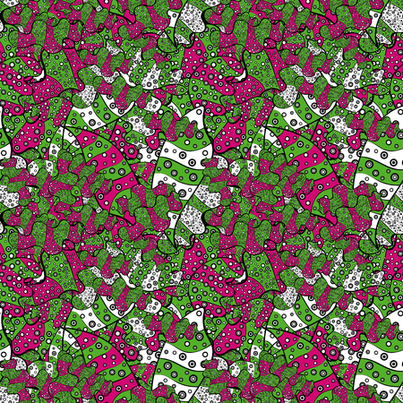 Abstract doodles pattern with Green, black and magenta colors.
