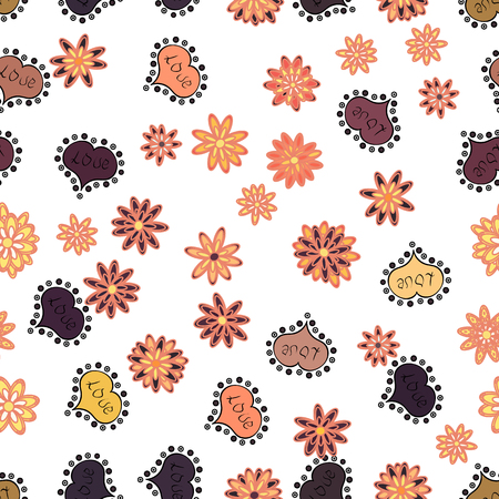 Girlish repeated backdrop with hearts, drawing in sketch style on white, orange and brown colors.