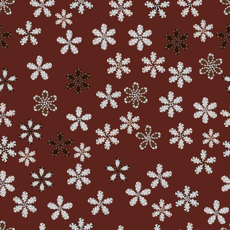 Tropical seamless floral pattern. Vector illustration. Flowers on brown, white and neutral colors. Ilustrace